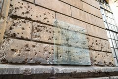 Semper depot. Storehouse of the Academy of Fine Arts Vienna showing preserved world war 2 damage from the Battle in 1945 with the Soviet Army, bullet holes on Royalty Free Stock Photo
