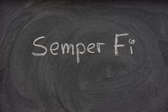 Semper Fi handwritten on a blackboard Stock Images
