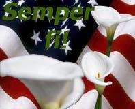 Semper FI! mit Callalilie und Sternenbanner Flagge Stockfotos