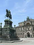 Semper Opera House in Dresden. Germany In front - statue of king Johan Saxony stock photos