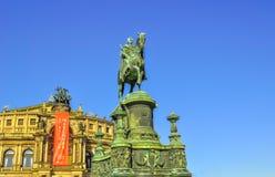 Semper Opera Statue in Dresden Royalty Free Stock Image