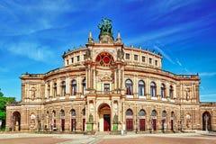 Semperoper是Sachsische Staatsoper德累斯顿的歌剧院 库存图片