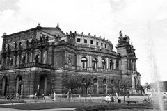 The Semperoper. The famous Semperoper in Dresden, Germany. b&w-photo royalty free stock image