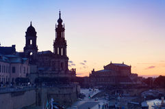 Semperoper and Dresden Cathedral at sundown Stock Photography