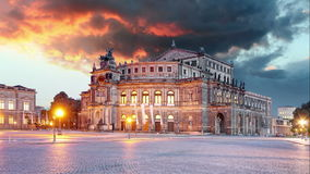Semperoper in Dresden, Germany - Time lapse stock footage