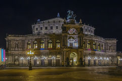 Semperoper in Dresden at night,Saxony,Germany. The opera house was originally built by the architect Gottfried Semper in 1841 in Dresden,Saxony,Germany. At night Stock Photography