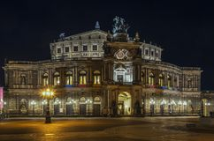 Semperoper in Dresden at night,Saxony,Germany. The opera house was originally built by the architect Gottfried Semper in 1841 in Dresden,Saxony,Germany. At night Stock Photos