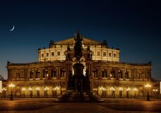Semperoper at night Royalty Free Stock Photo