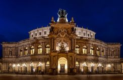 Semperoper by night, Dresden, Germany royalty free stock images