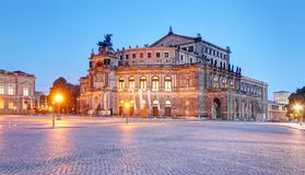 Semperoper opera building at night in Dresden stock photography
