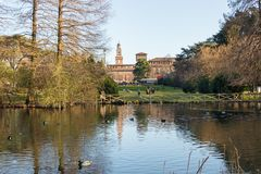 Sempione Park is a large city park in Milan, Italy. The park is adjacent to the gardens of the Sforza Castle and to the Arch of Peace, two of the main landmarks royalty free stock photo