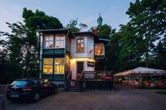 Sempre restaurant, Sopot. Sopot, Poland - June 10 2017: Sempre restaurant on the shore of Baltic sea at night Royalty Free Stock Image