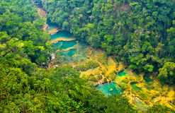 Semuc Champey. Turquoise pools and waterfalls of Semuc Champey, Guatemala Stock Photos
