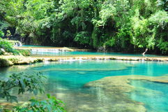 Semuc Champey, Guatemala. The amazing turquoise pools and waterfalls of Semuc Champey, Guatemala Stock Photo