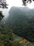 Semuc Champey kalkstenbro i djungel Arkivbilder