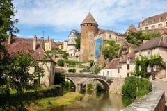 Semur-en-Auxois Bourgogne Royaltyfri Fotografi