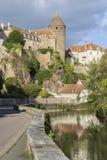 Semur-Engels-Auxois Bourgogne Frankrijk Stock Afbeelding