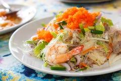Sen del wun dell'igname, insalata tailandese della tagliatella del fagiolo verde immagini stock