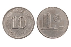 10 sen Maleisië van 1977 muntstuk Stock Foto's