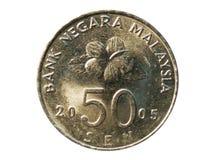 50 Sen mynt, bank av Malaysia Avers 2005 Arkivfoto