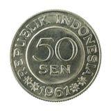 sen myntför 50 indones avers 1961 royaltyfria bilder