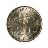 sen myntför 20 malaysian avers 2006 royaltyfri foto