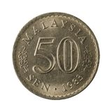 sen myntför 50 malaysian avers 1983 royaltyfri bild