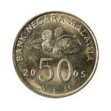 sen myntför 50 malaysian avers 2005 arkivfoto