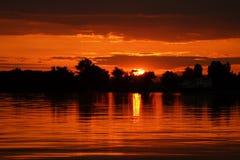sen solnedgång Arkivbild