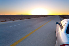 sen solnedgångyellow för blå öken Royaltyfri Fotografi