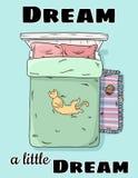 Sen sen troszkę Śliczny kota lying on the beach na łóżkowym brzuchu w górę Odgórny widok Kreskówka stylowy wizerunek ilustracja wektor
