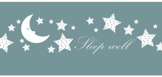 Sen well gwiazdy i księżyc ilustracja wektor