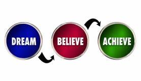 Sen Wierzy Dokonuje okregów kroków planu sukces ilustracji