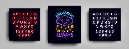 Sen Zawsze Moda slogan dla drukować Neonowy znak, sieć plakat, sztandar w neonowym stylu Graficzny projekt dla druku na a ilustracji