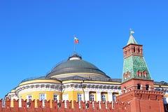 Senaatspaleis en de Senaatstoren in Moskou het Kremlin Royalty-vrije Stock Fotografie