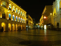 Senado Square, Macau. Night scene of Largo do Senado or also known as Senado Square in Macau stock images