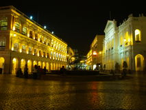 Senado Square, Macau. Night scene of Largo do Senado or also known as Senado Square in Macau royalty free stock photo