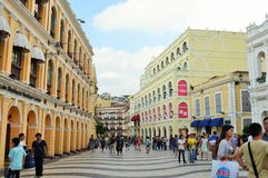 Senado Square of Macau. This square is the largest in Macau. Macau is a former Portuguese colony. most of tourist be here for shopping and eating Royalty Free Stock Photo