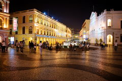 Senado Square by Night, Macau. Senate Square, Largo do Senado, a colorful typical Iberian town square, and the traditional heart of Macau city. It is surrounded Stock Image