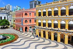 Senado Square Heritage Building, Macau, China. The Senado Square, or Senate Square Portuguese: Largo do Senado is a paved town square in Sé, Macau, China and stock photo