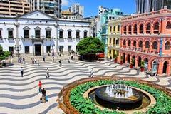 Senado Square Heritage Building, Macau, China. The Senado Square, or Senate Square Portuguese: Largo do Senado is a paved town square in Sé, Macau, China and stock images