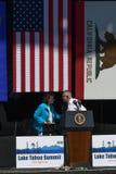 Senadores Reid y Feinstein en la vigésima cumbre anual 3 del lago Tahoe Fotos de archivo