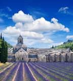 Senanque abbey with lavender field, landmark of Provence, Vauclu. Se, France. Beautiful landscape with medieval castle and cloudy blue sky Royalty Free Stock Photography
