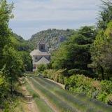 Senanque abbotskloster och lavendelfält Arkivbild
