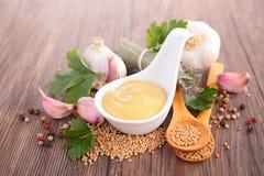 Senap och kryddor arkivbilder