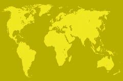 Senapsgult världskarta som isoleras Arkivbilder