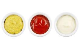 Senapsgultt ketchup och mayonnaise Royaltyfri Foto
