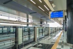 Senast plattform för kajang MRT-för masssnabb transport MRT är det senaste systemet för offentligt trans. i den Klang dalen från  Royaltyfria Bilder