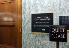 Senate Appropriations Committee. Washington, DC, USA - July 18, 2017: A sign at the entrance to a Senate Appropriations Committee hearing room. The United States Stock Image