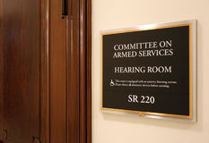 Senate Armed Services Committee. Washington, DC, USA - July 18, 2017: A sign at the entrance to a Senate Armed Services Committee hearing room. The United States Stock Photography